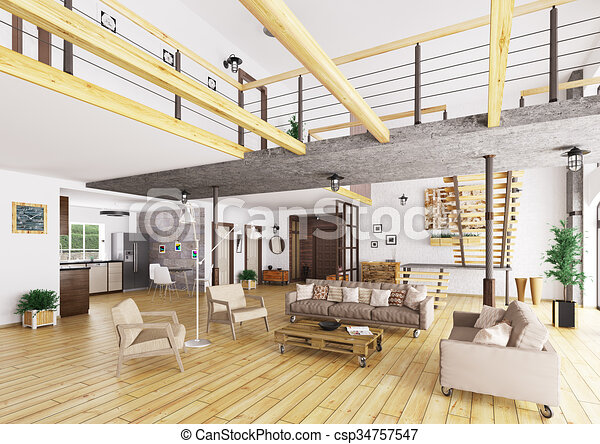 interior, apartamento, sótão, render, 3d - csp34757547