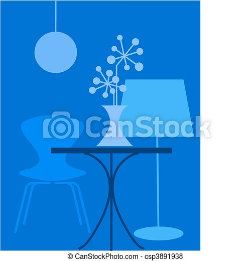 interior, azul, cores, retro - csp3891938