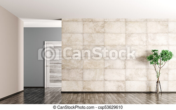 Interior Background Of Empty Room 3d Rendering Interior Of Empty Living Room Wooden Door Plant And Concrete Tiled Wall 3d
