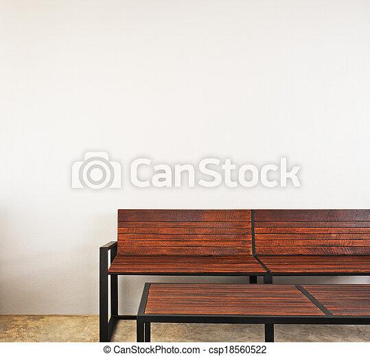 Interior, banco, mobiliario de jardín. Marrón, jardín, color, banco ...