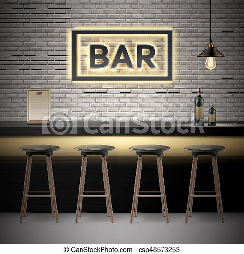 Interior barra bar mostrador sillas botellas - Interior barra bar ...