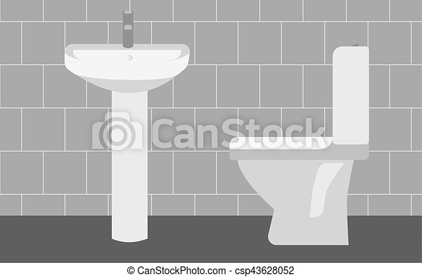 Interior Bathroom Toilet Side View Vector