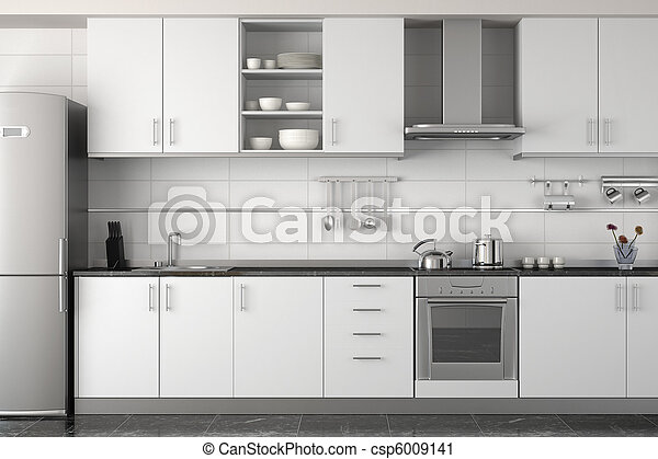 Diseño interior de cocina blanca moderna - csp6009141