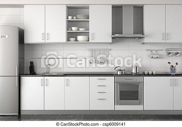 interior, branca, modernos, desenho, cozinha - csp6009141