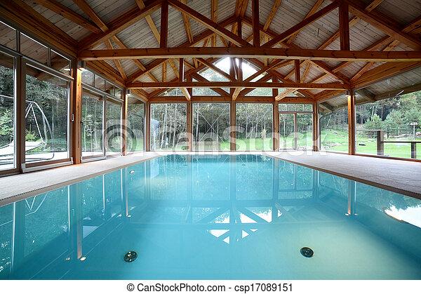 Interior de piscina dentro de la casa - csp17089151