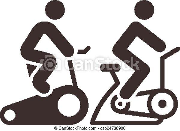Iconos de ciclismo interior - csp24738900