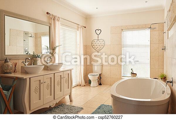 Interior, classically, cuarto de baño, espacioso, diseñar. Servicio ...