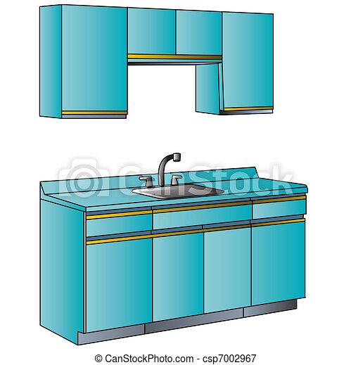 Interior, cocinas, muebles. Azul, interior, cocinas, colour., muebles.