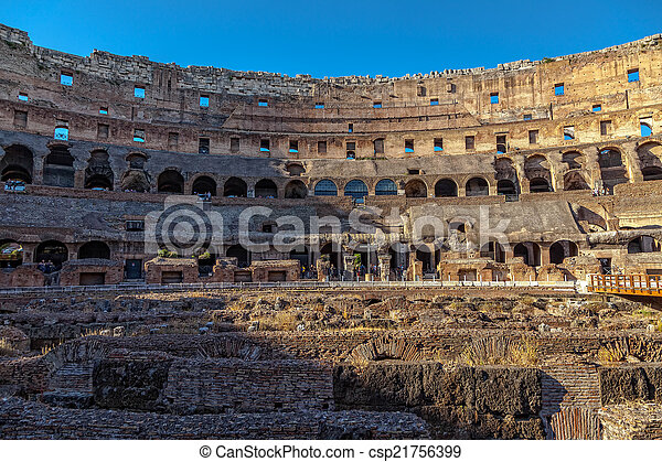 Interior Coliseum in Rome at sunset - csp21756399