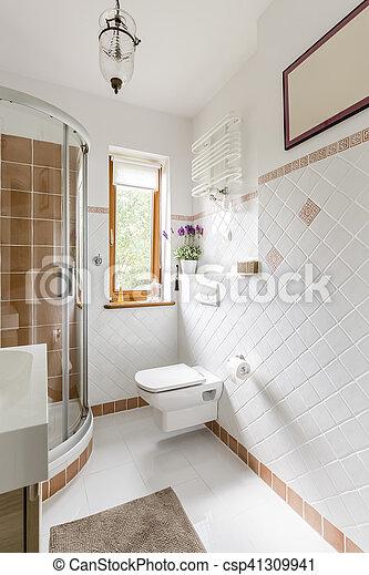 interior, cuarto de baño, azulejos, blanco