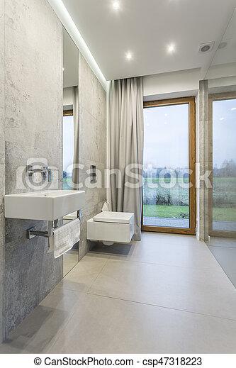 Interior, cuarto de baño, diseño. Servicio, cuarto de baño, lavabo ...