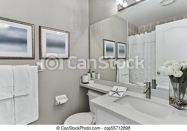 Interior, cuarto de baño, diseño. Interior, casa, cuarto de ...