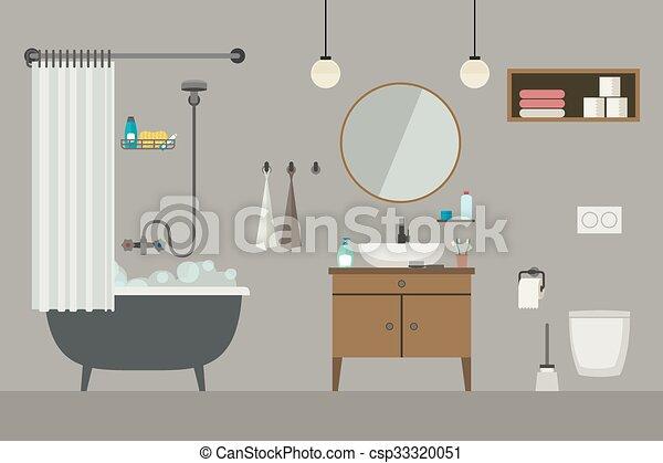 Interior del baño con muebles. - csp33320051
