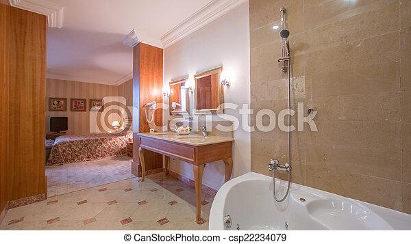 Interior, cuarto de baño, lujo. Hermoso, cuarto de baño, completo ...