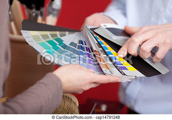Interior decorator in a meeting with a client - csp14791248