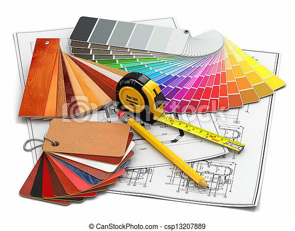 interior design. Architectural materials tools and blueprints - csp13207889