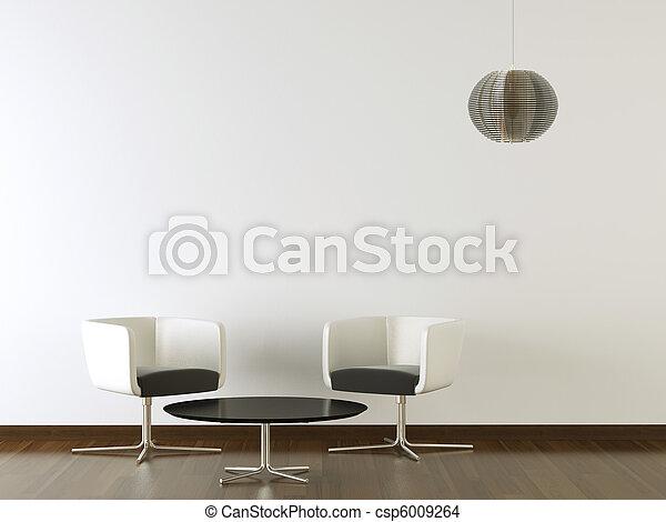 interior design black furniture on white wall - csp6009264