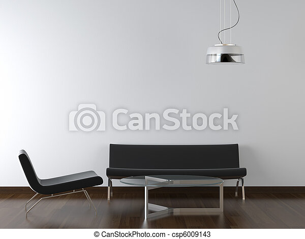 interior design black living room on white - csp6009143