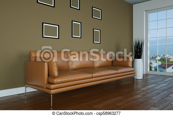 Interior Design Bright Room With Brown Leather Sofa 3d Illustration Canstock