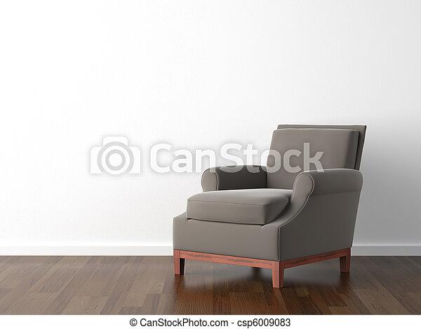 interior design brown armchair on white - csp6009083