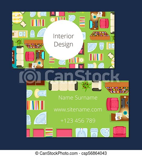 interior design business card vector illustration interior design rh canstockphoto com Business Card Graphics Cartoon Business Cards