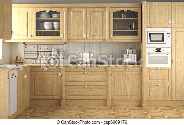 interior design classic kitchen - csp6009176