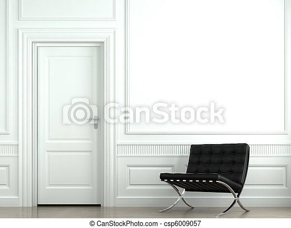 interior design classic wall with chair - csp6009057