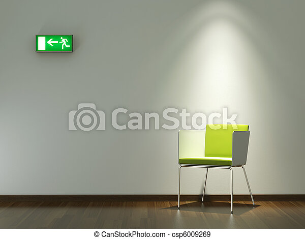 interior design green chair on white wall - csp6009269