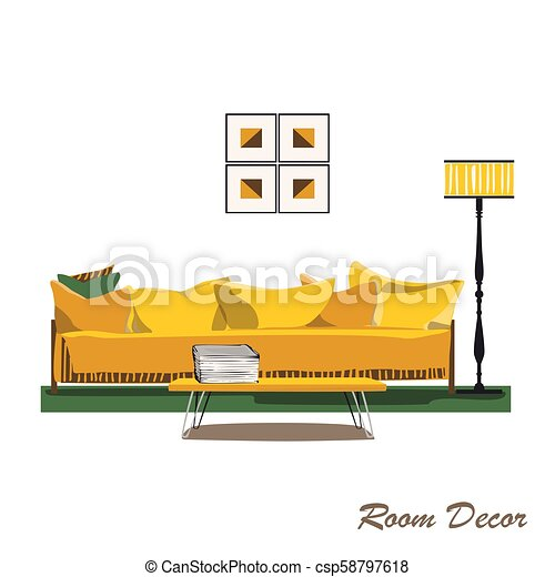 Interior design illustration. Modern yellow living room trendy s