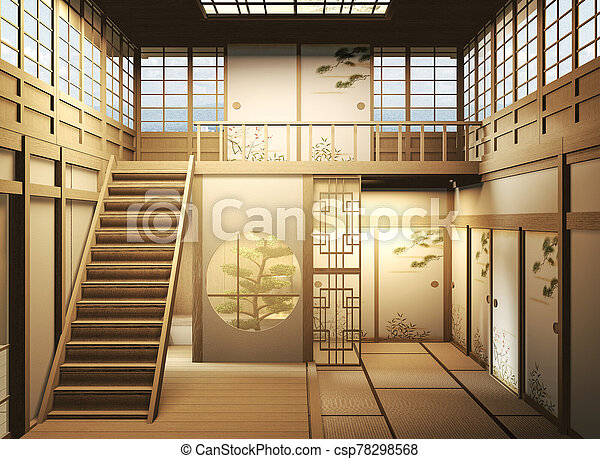 interior design Large two story room japan style. 3D rendering - csp78298568