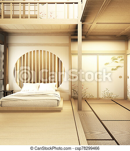 interior design Large two story room japan style. 3D rendering - csp78299466