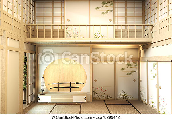 interior design Large two story room japan style. 3D rendering - csp78299442