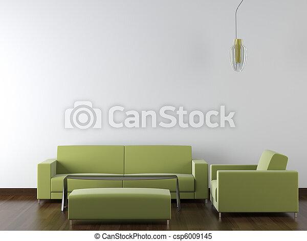 interior design modern green furniture on white wall - csp6009145
