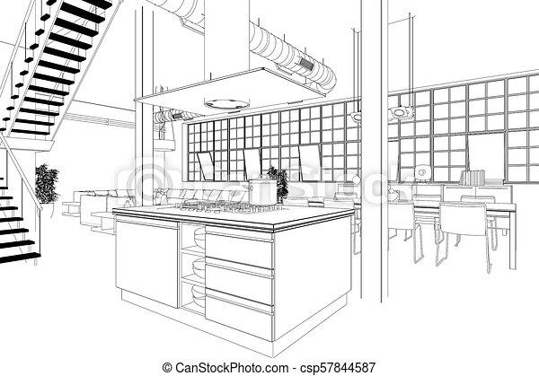 Interior Design Modern Loft Kitchen Custom Drawing Interior Design Modern Loft Kitchen Drawing 3d Illustration