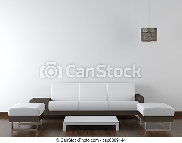 interior design modern white furniture on white wall - csp6009144