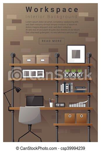 Interior Design Modern Workspace Banner Vector Illustration
