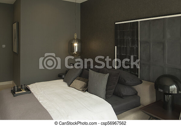 Interior Design Of Bedroom In Dark Themes Bedroom Interior Design In Showroom Canstock