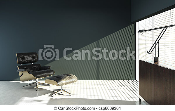 Interior design of eames chair on blue wall interior design of
