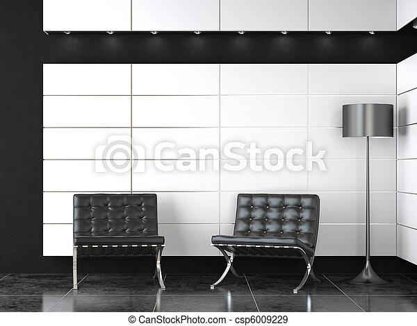 interior design of modern black and white reception - csp6009229