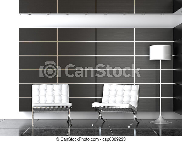 interior design of modern black and white reception - csp6009233