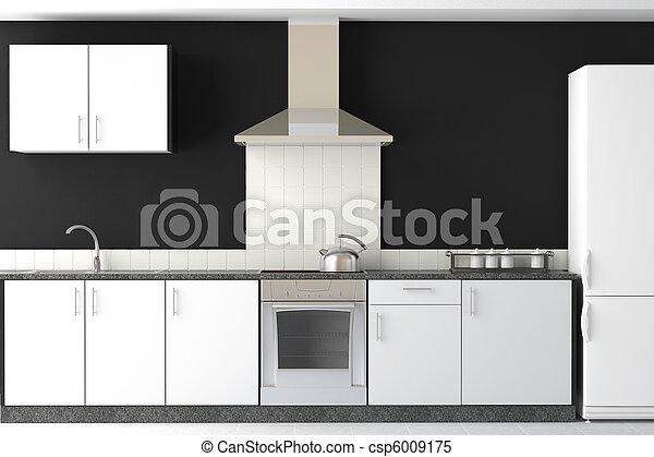 interior design of modern black kitchen - csp6009175
