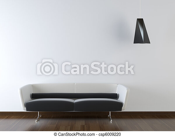 interior design of modern couch on white wall - csp6009220