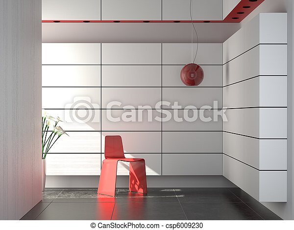 interior design of modern red white and black composition - csp6009230