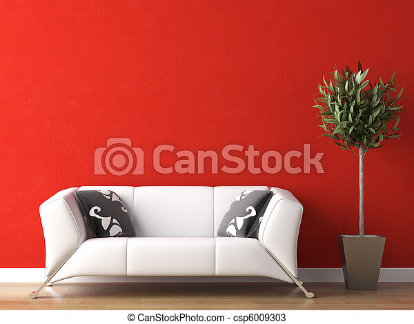 interior design of white couch on red wall - csp6009303