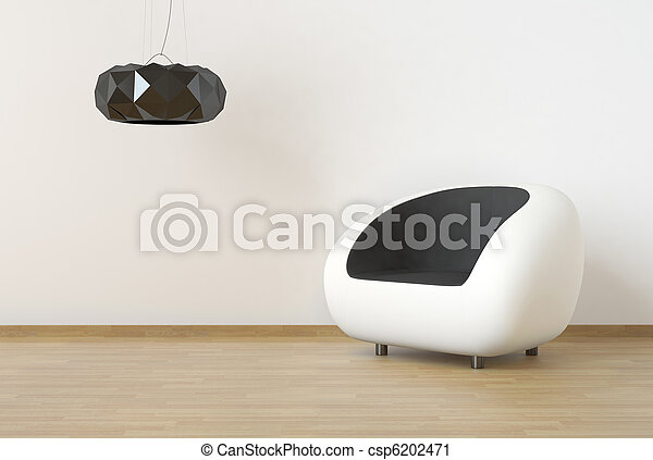 interior design scene with white and black furniture on a clean wall - csp6202471