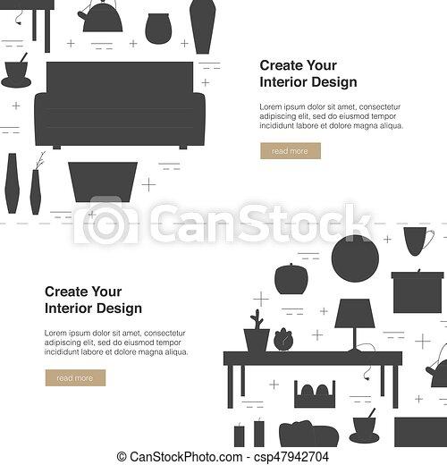 Interior Design Vector Web Banner Modern Home Design Template With Illustration Home Appliances Design Concept