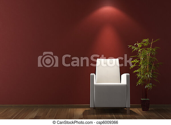 interior design white armchair on bordeaux wall - csp6009366