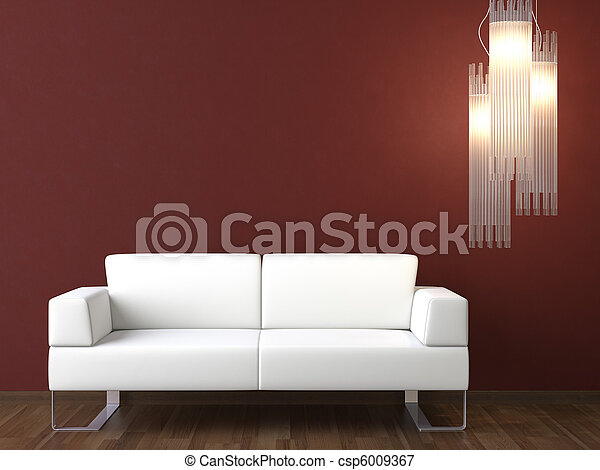 interior design white couch on bordeaux wall - csp6009367