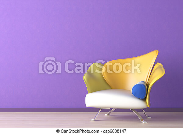 Interior Design with armchair on violet wall - csp6008147