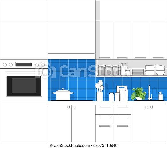 Interior Design With Modern Kitchen In Black Line Sketch On Colorful Background 2 Interior Design With Modern Kitchen In Canstock